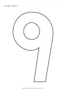 Dibujo para colorear y pintar el número nueve en color azul