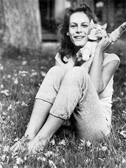 Jamie Lee Curtis and a cat