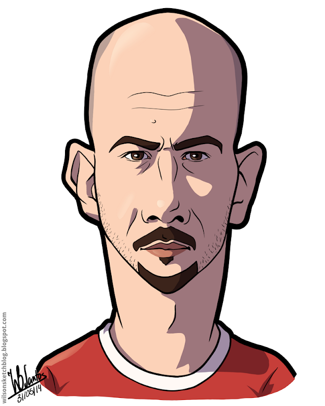 Cartoon caricature of Paulo Lopes.