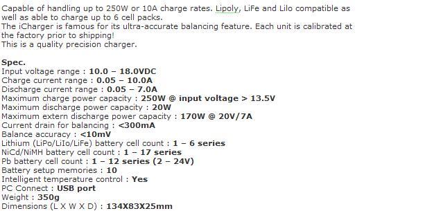 14 - Le chargeur électrique intelligent (plomb, lithium,NiMh...) + balance board Chargeur106_caracteristiques