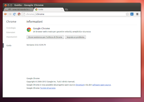 Google Chrome 22 su Ubuntu