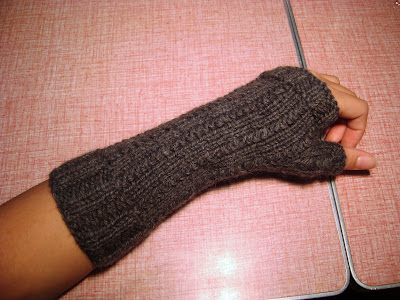 Vertical Weave Fingerless Mittens gray