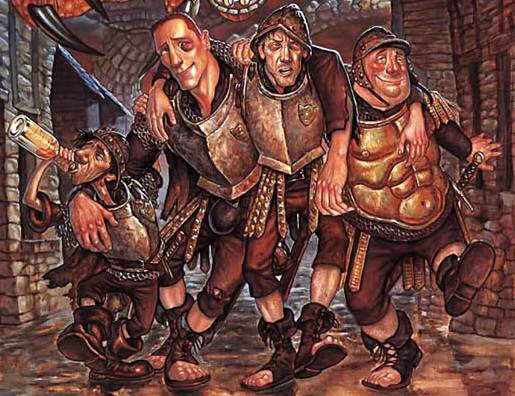 The City's Finest: Corporal Nobby Nobbs, Captain Carrot Ironfoundersson, Commander Sir Samuel Vimes, & Sergeant Fred Colon