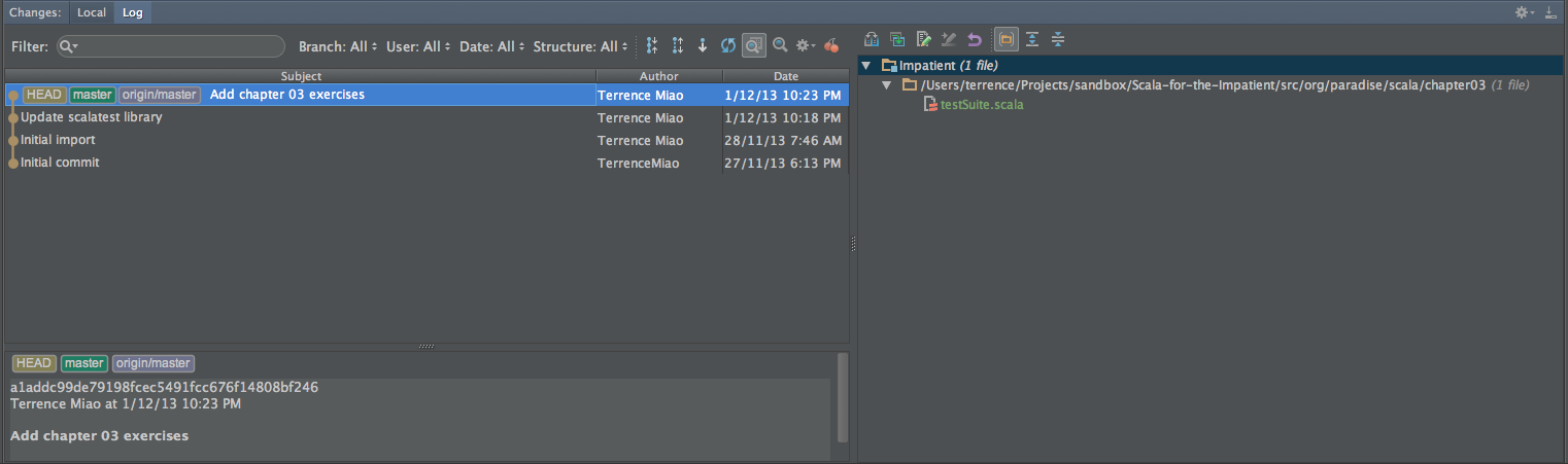 Git integration in IntelliJ 13, repository on GitHub, with Cherry
