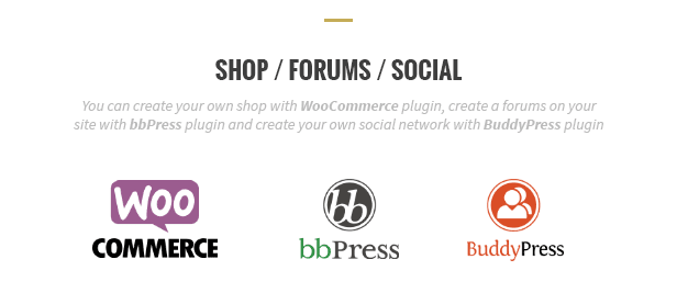 Shop, forums and social