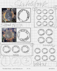 Sketchbook Monad, Circles Symbol , Number ONE archetype The Ralire Study @ ralire.milliande.com , Developing Sketchbooks and Drawing for Textiles and Canvas