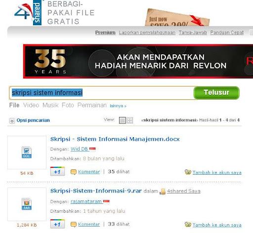 Mencari skripsi di file hosting