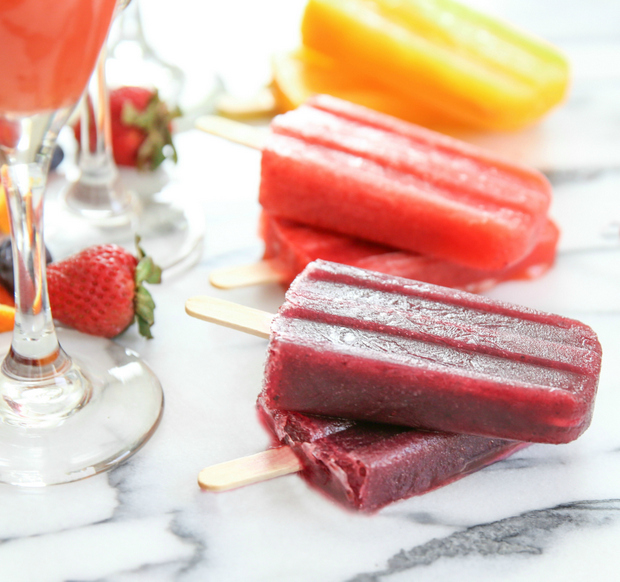 close-up photo of blueberry Mimosa Ice Pops
