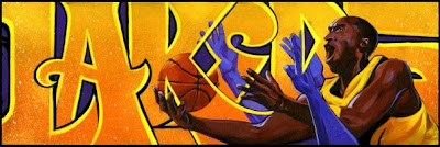 "Lakers Acrylic and spray paint on canvas 37"" x 13"" 2010  $2,200 (Giclee and archival prints available - contact gallery)"