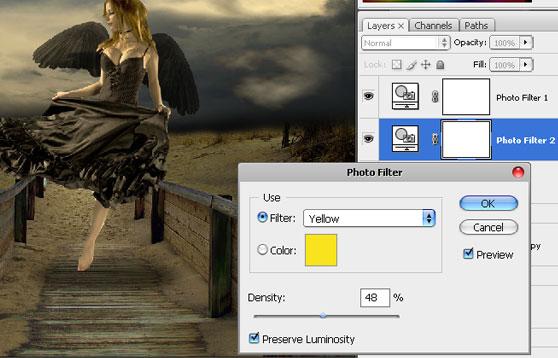 Aplicando o filtro de fotos amarelo