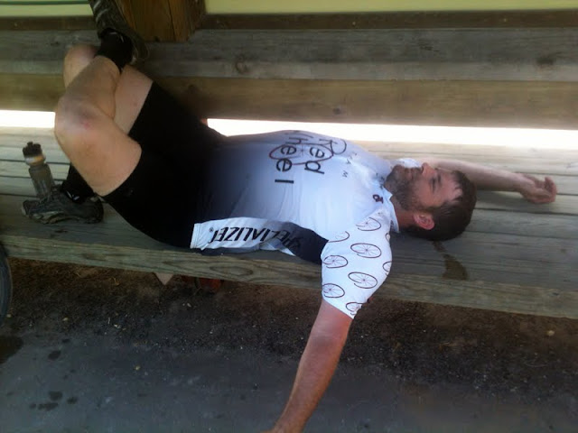 Bob laying down on the Katy Trail