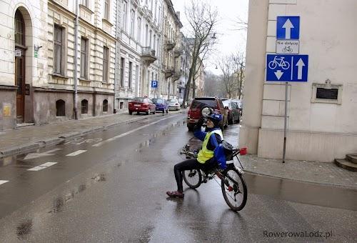 Jednokierunkowa ulica, ale nie dla rowerów.