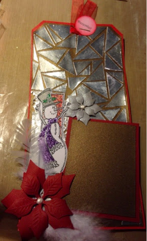 mosaic technique, spellbinders poinsettia die, Christmas tag, snowman tag