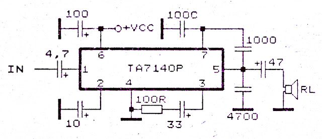 Low power amplifier with IC TA7140 circuit diagram