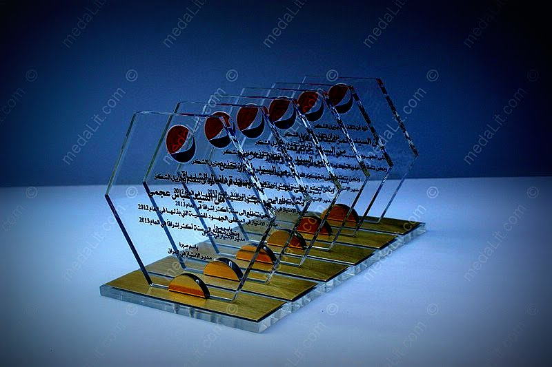 Honeycomb acrylic trophy award - Garnet collection by Absi co.