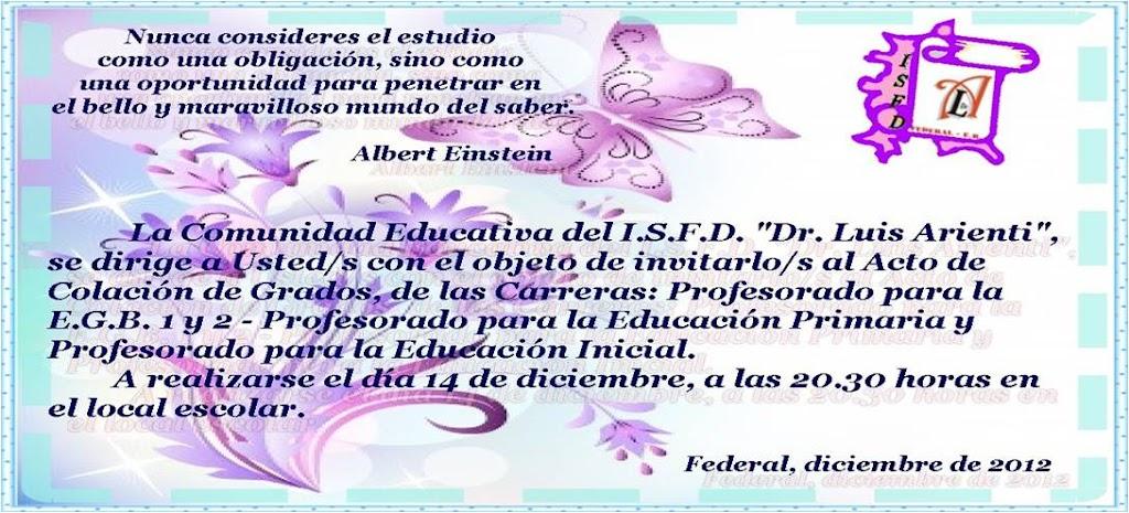 Acto De Colación I S F D Dr Luis Arienti Federal