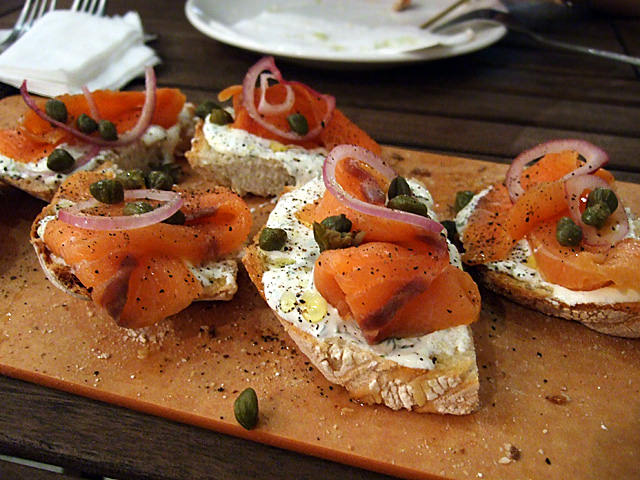 Smoked salmon bruschetta