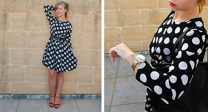 black and white dots, dotted dress, red accessories, outfit idea, 60's inspiration