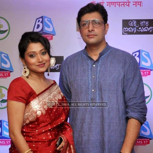 Meghna Halder and Priyangshu Chatterjee during audio launch of Ei Raat Tomar Amar at Kasba, Kolkata.