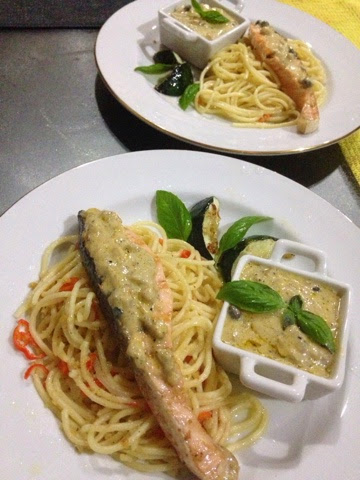 how to cook aglio olio salmon