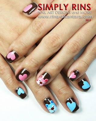 Bears of Pink and Blue Nail Art Design