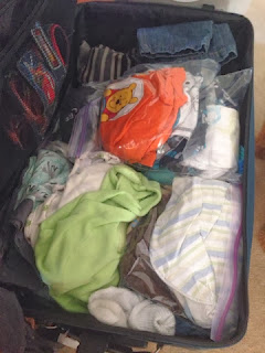 our childrens' bags, neatly organized
