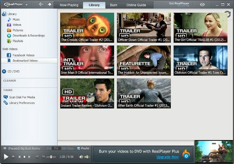 Screenshot of RealPlayer v.16.0.2.32 Multimedia Player PC Software Free Download at Alldownloads4u.Com