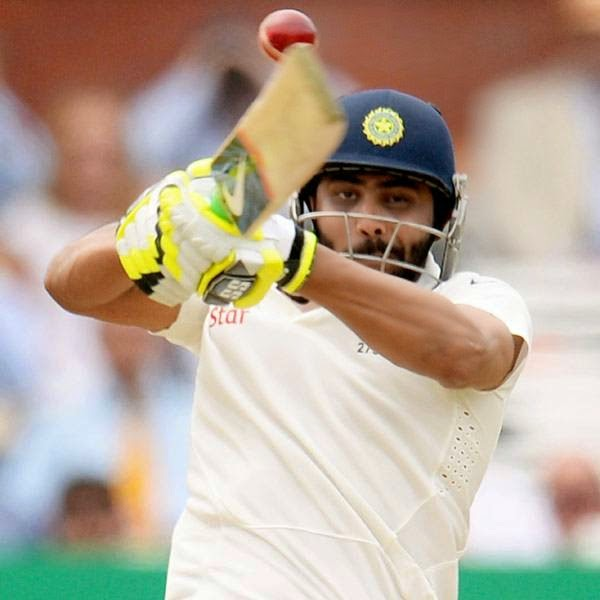 India's Ravindra Jadeja hits out during the second cricket test match against England at Lord's cricket ground in London July 20, 2014.