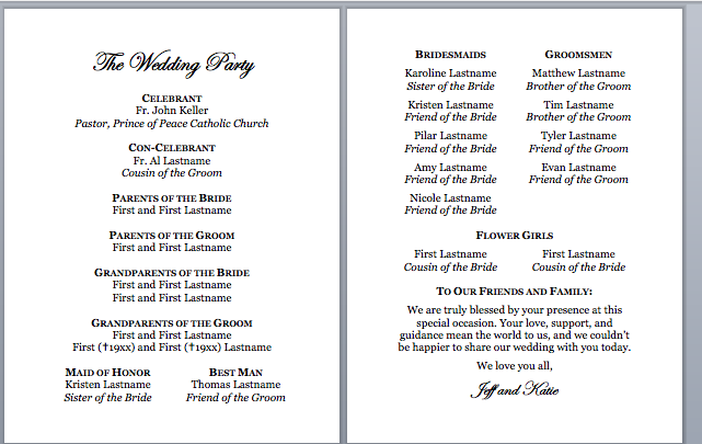 Spirals & Spatulas: Catholic Wedding Program