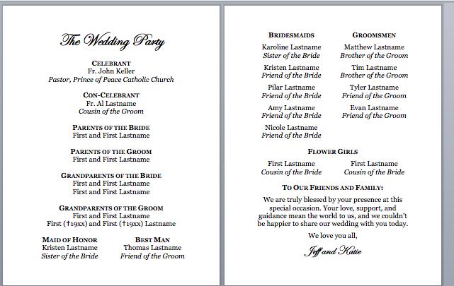Spirals Spatulas Catholic Wedding Program