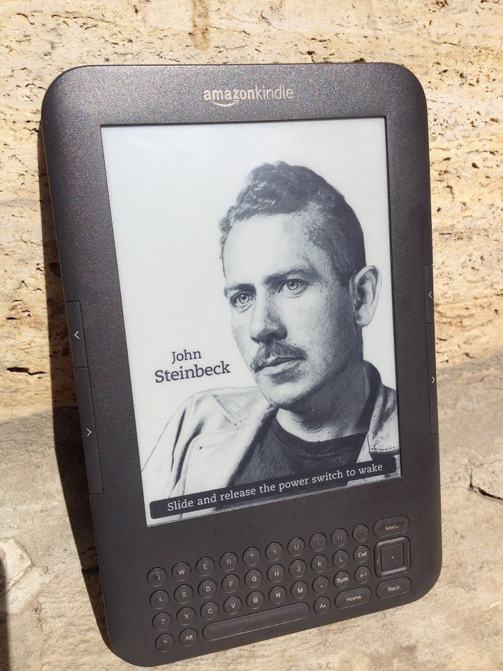 Kindle photo session in full sunlight (John Steinbeck screensaver)