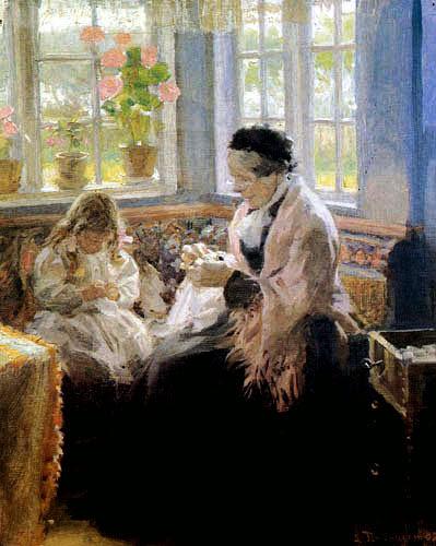 Laurits Tuxen - Bertha Tuxen and the granddaughter Nina