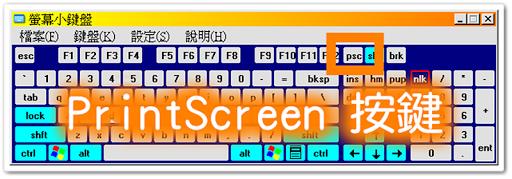 按鍵盤右上方的 PrintScreen 螢幕拷貝鍵
