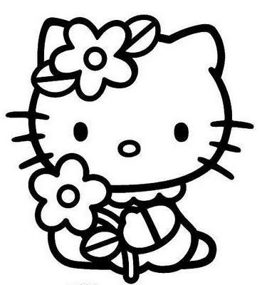 Hello Kitty with flower free coloring pages