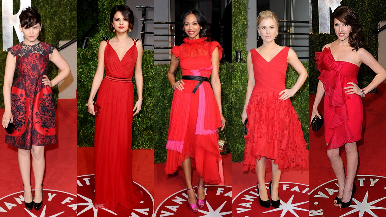 Red Dresses Ruled On And Off The Oscar Carpet Ginnifer Goodwin Dons A Quirky Satin Dress With Black Lace Detail By Erdem Salut To Selena Gomez Who