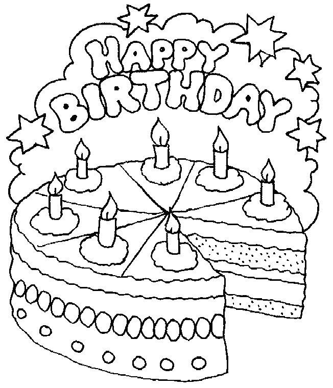 Pinto Dibujos: Happy birthday con pastel para colorear