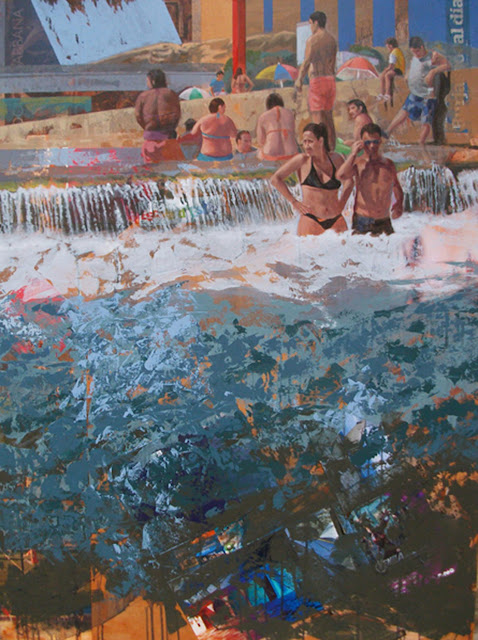 Playa de interior,pintura en técnica mixta de Jose Miguel Alguer Romero