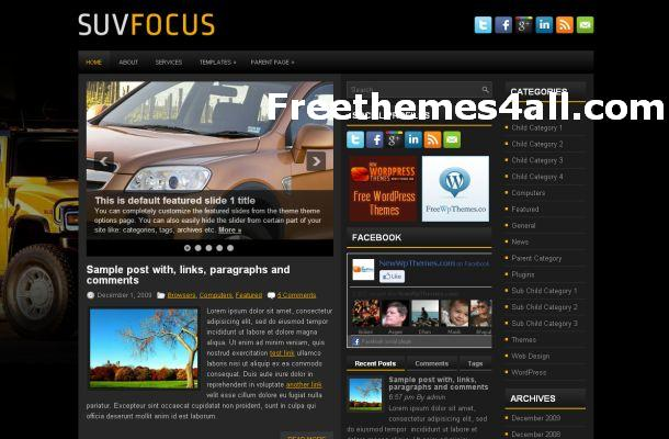 Free WordPress Cars News Theme Template
