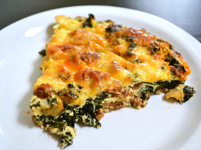sliced kale and chorizo breakfast frittata