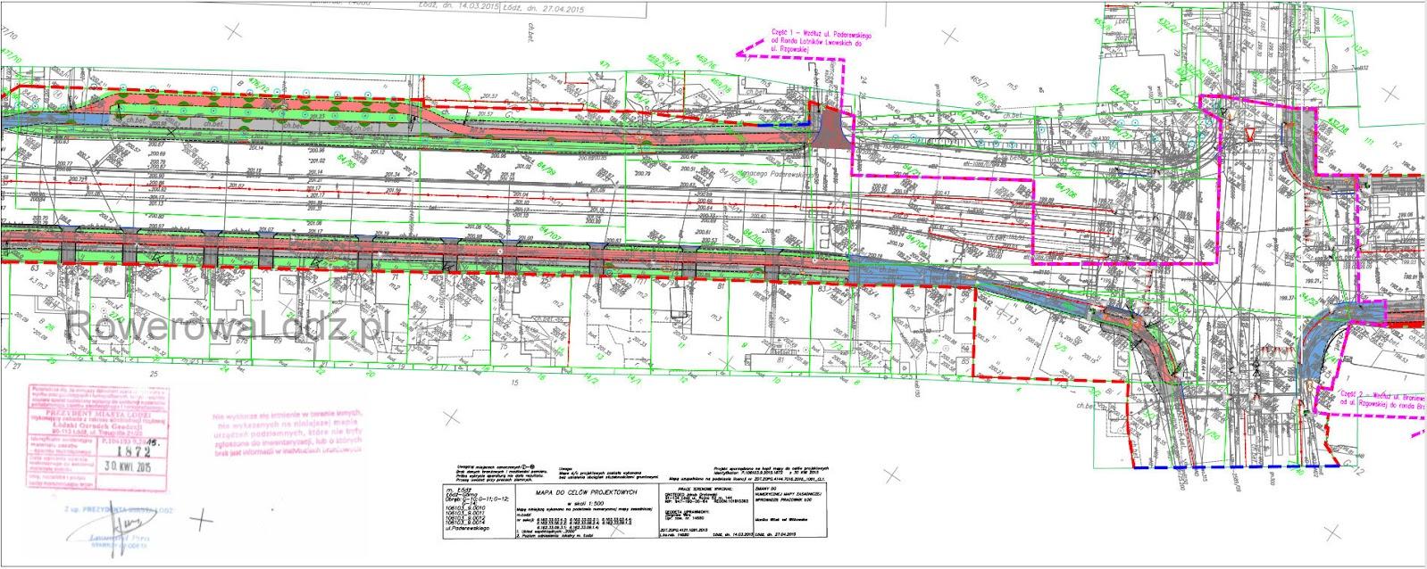 Skrzyżowanie z ul. Rzgowską. Po północnej stronie brakujący fragment przebiegałby po terenach prywatnych - wedle zapewnień dobudowane będzie wraz z przebudową skrzyżowania.