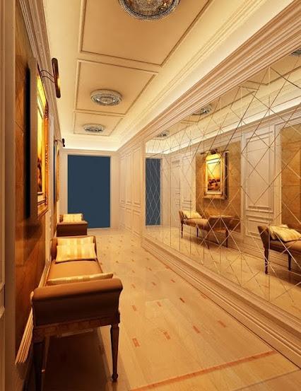 Hành lang trong biệt thự được lắp thêm gương tạo cảm giác rộng rãi thoải mái