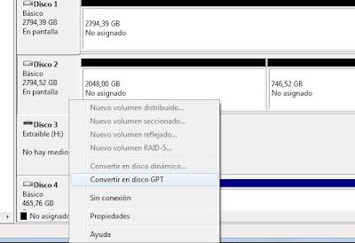Activación disco duro, particionado, GPT, 3TB en Windows 7