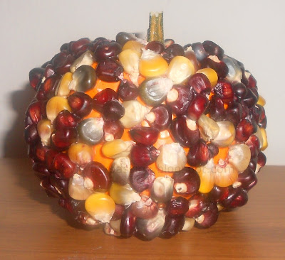 No-carve Indian corn kernels Pumpkin decoration