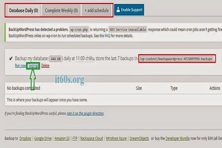 sao lưu trang web tự động đơn giản trên WordPress