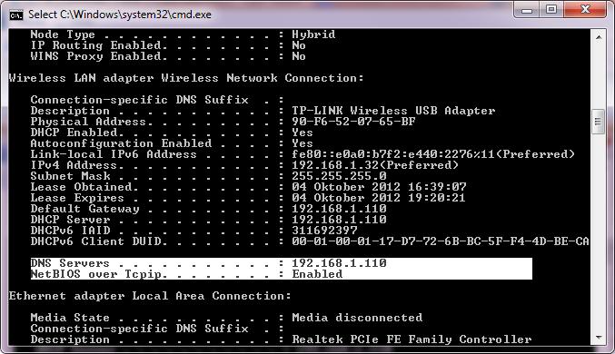 Mengecek DNS server yang dipakai