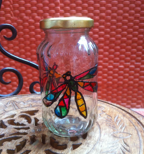 Hand painted glass jar by Rithika