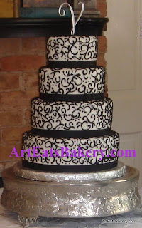 Ribbons & Pearls Wedding Cake Designs - Art Eats Bakery - Taylor\'s ...