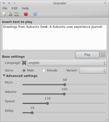Gespeaker running on Xubuntu 12.04