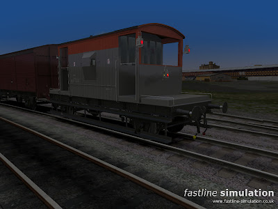 Fastline Simulation: Dia 1/507 20T brake van in Railfright livery with lit side and tail lamps.