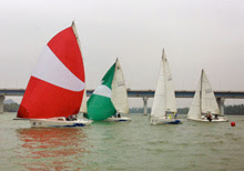 J/80s sailing on river in China- sailing school development program